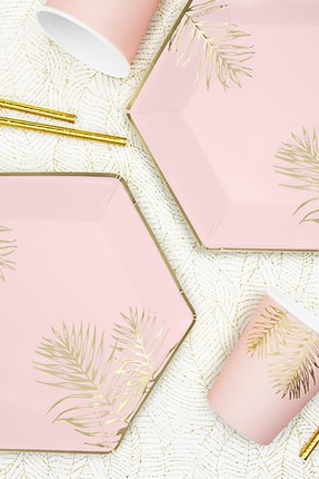 KullanAt Market Tropikal Altın Yaprak Desenli Pembe Kağıt Tabak 23 cm 6lı 2