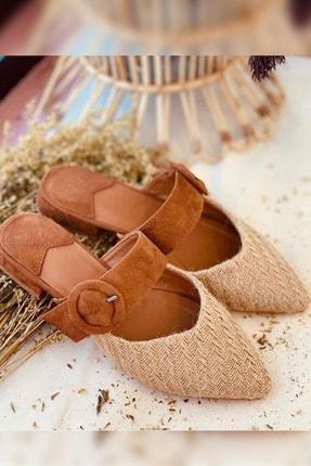 Gelinlik Ayakkabıcım Kadın Kahverengi Rahat Ve Konforlu Hasır Terlik 0