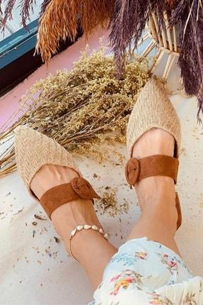 Gelinlik Ayakkabıcım Kadın Kahverengi Rahat Ve Konforlu Hasır Terlik 1