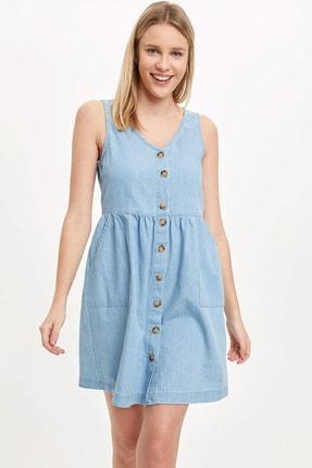 Defacto Kadın Mavi Düğmeli V Yaka Jean Elbise L2328AZ.20SM.NM63 2