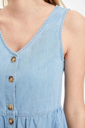 Defacto Kadın Mavi Düğmeli V Yaka Jean Elbise L2328AZ.20SM.NM63 3