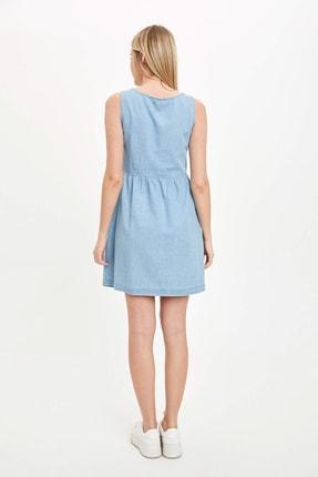 Defacto Kadın Mavi Düğmeli V Yaka Jean Elbise L2328AZ.20SM.NM63 4