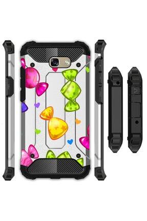 cupcase Samsung Galaxy J4 Plus Kılıf Desenli Sert Korumalı Zırh Tank Kapak - Candy 0