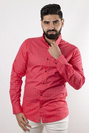 SHEHBA Erkek Pembe Desenli Slim Fit Gömlek Rox 0