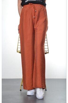Modayns Kadın Kiremit Beli Lastikli Dokuma Salaş Pantolon 1