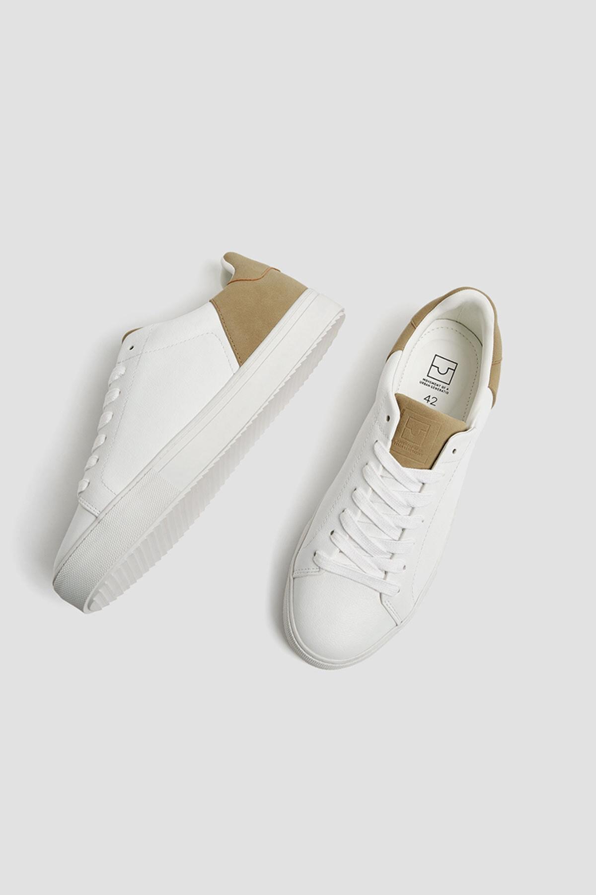 Pull & Bear Erkek Beyaz Kontrast Spor Ayakkabı 12229540 4