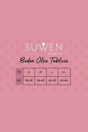 Suwen Kadın Japon Rose Maskulen Şort Takım - Siyah Baskılı 3