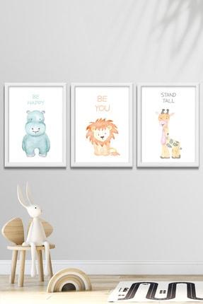 Norm Design Bebek & Çocuk Odası 3'lü Çerçeveli Posterli Duvar Tablo Seti 0