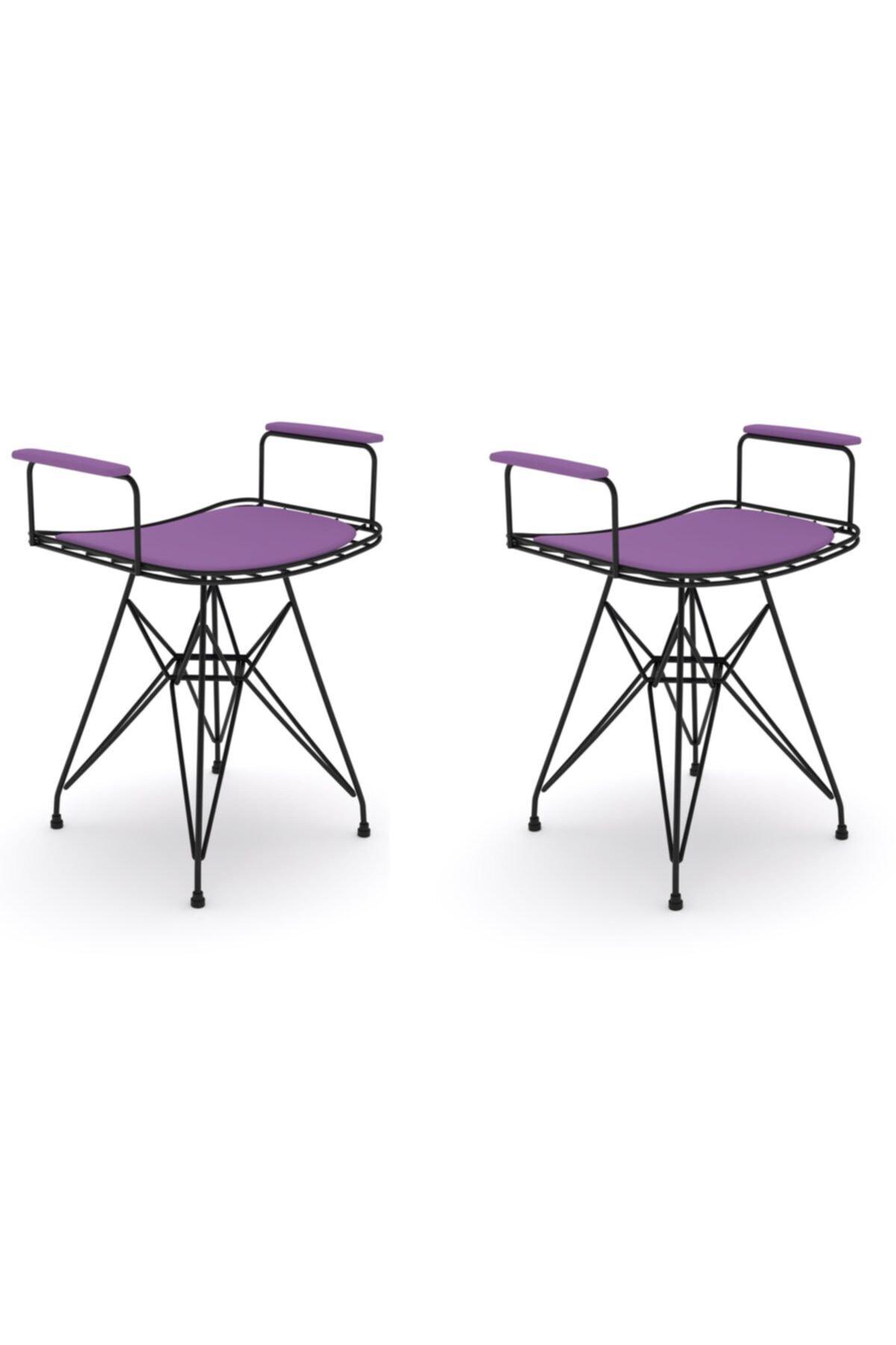 Knsz Kafes Tel Sandalyesi Tabure 2 Li Mutlu Syhmor Kolçaklı Ofis Cafe Bahçe Mutfak