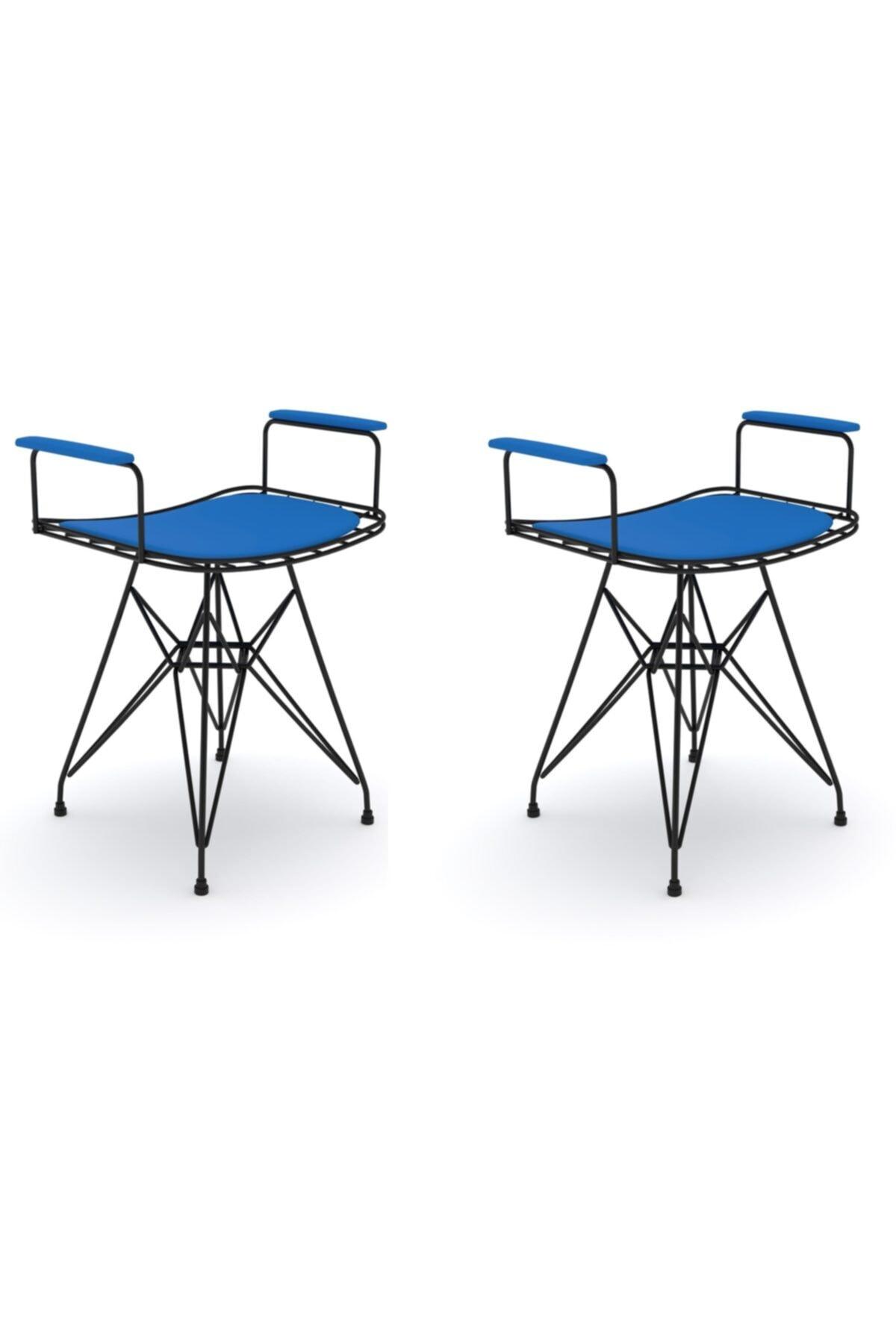 Knsz Kafes Tel Sandalyesi Tabure 2 Li Mutlu Syhmvi Kolçaklı Ofis Cafe Bahçe Mutfak