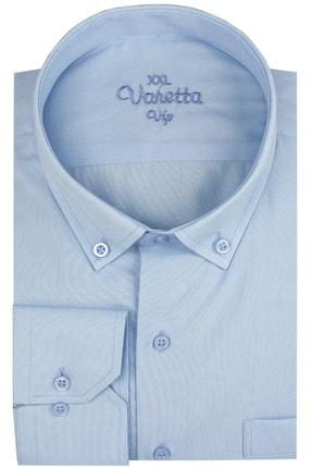 Picture of Büyük Beden Yaka Dügmeli Mavi Erkek Gömlek