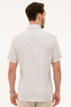 Pierre Cardin Kahverengi Detaylı Beyaz Regular Fit Kısa Kollu Gömlek 2