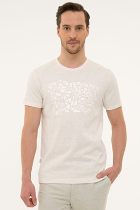 Pierre Cardin Erkek Ekru Slim Fit Bisiklet Yaka T-Shirt 0