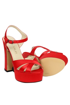 OZ DOROTHY Kadın Kırmızı Platformlu Saten Sandalet 4