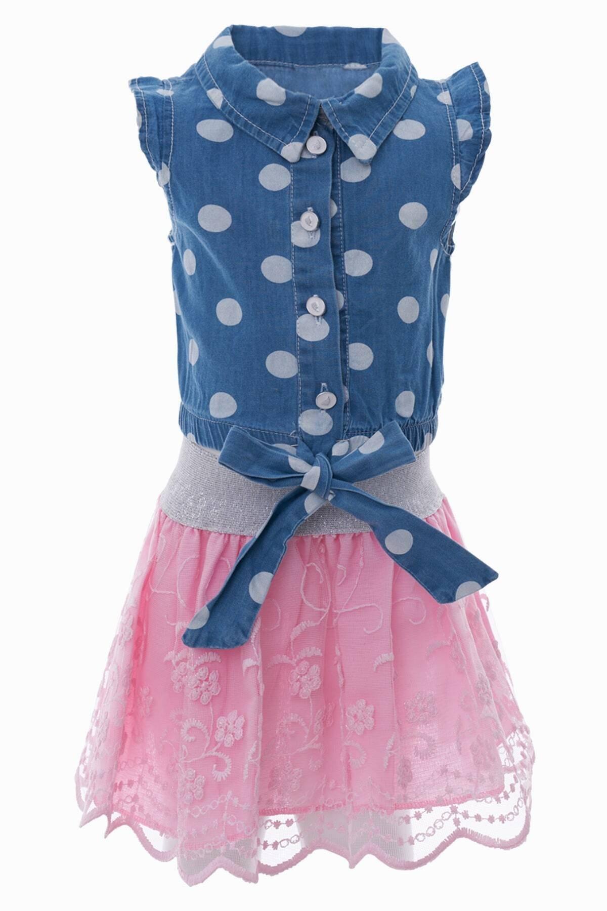 Kız Çocuk Puantiyeli Gömlek Etekli Takım 1-4 Yaş