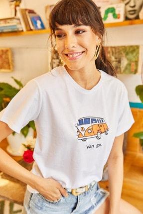 Olalook Kadın Beyaz Van Go Nakışlı Tişört TSH-19000380 3