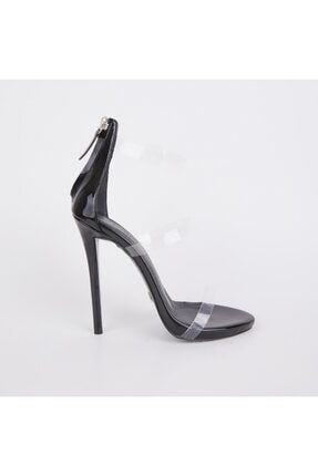 Jabotter Guiseppe Üç Bantlı Siyah Rugan Şeffaf Topuklu Ayakkabı 0