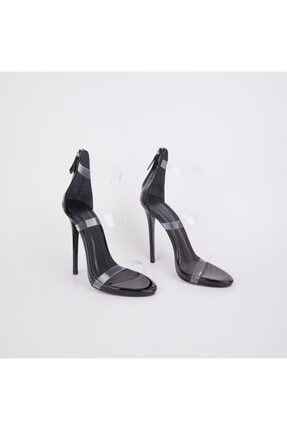 Jabotter Guiseppe Üç Bantlı Siyah Rugan Şeffaf Topuklu Ayakkabı 1