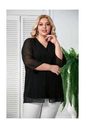Rmg Şifon Kol Taş Detay Siyah  Büyük Beden Bluz 1