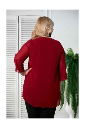Rmg Şifon Kol Taş Detay Bordo Büyük Beden Bluz 3