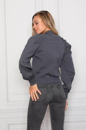 COTENCONCEPT Kadın Gri Balon Kollu Önden Fermuarlı Triko Ceket 3