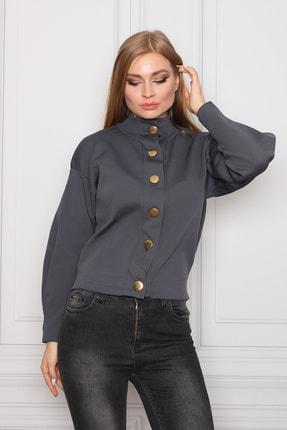 COTENCONCEPT Kadın Gri Uzun Kollu Dik Yaka Önden Düğmeli Ceket 1