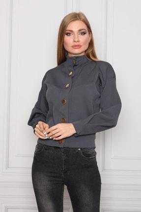 COTENCONCEPT Kadın Gri Uzun Kollu Dik Yaka Önden Düğmeli Ceket 2