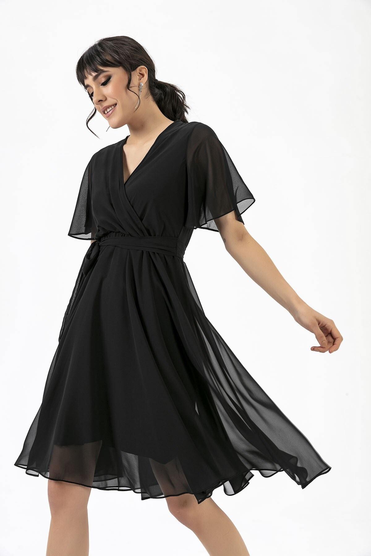 Kruvaze Volan Kol Elbise Siyah