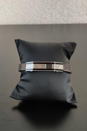 HEDİYELİMANİ Siyah Detaylı Gümüş Gri Kahve Deri Kordonlu Erkek Çelik Bileklik 0