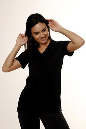 MARIQUITA Kadın Siyah Mari Yırtmaçlı T-shirt 0