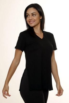 MARIQUITA Kadın Siyah Mari Yırtmaçlı T-shirt 1
