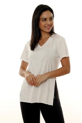 MARIQUITA Kadın Ekru Mari Yırtmaçlı T-shirt 1