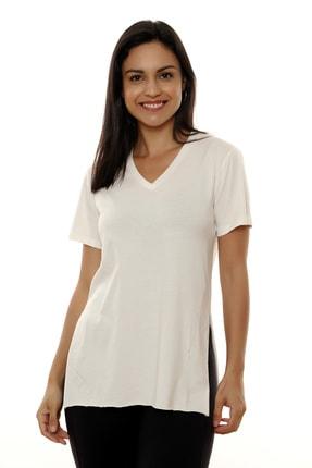 MARIQUITA Kadın Ekru Mari Yırtmaçlı T-shirt 2