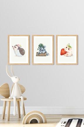Norm Design Bebek & Çocuk Odası 3'lü Çerçeveli Poster Tablo Seti 0