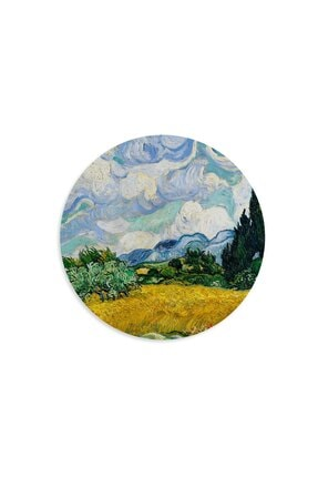 WuW Van Gogh Wheat Field With Cypresses Yuvarlak Mouse Pad 1