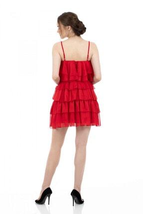 6ixty8ight Kırmızı Şifon Katkatlı Janjan Kısa Abiye Elbise 1