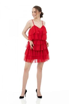 6ixty8ight Kırmızı Şifon Katkatlı Janjan Kısa Abiye Elbise 2