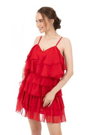 6ixty8ight Kırmızı Şifon Katkatlı Janjan Kısa Abiye Elbise 4