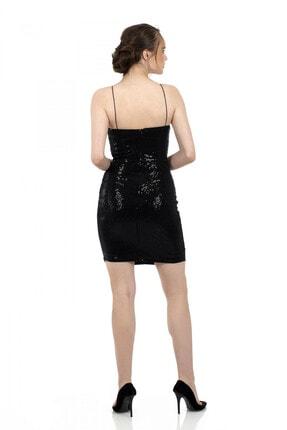 6ixty8ight Siyah Önü Drapeli Askılı Abiye Elbise 1