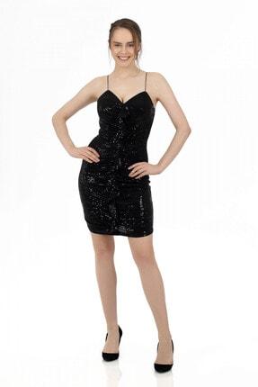 6ixty8ight Siyah Önü Drapeli Askılı Abiye Elbise 2