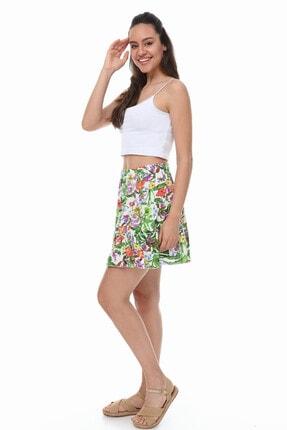 Mi&So Kadın Yeşil Beyaz Beli Lastikli Üç Parça Fırfırlı Etek 4