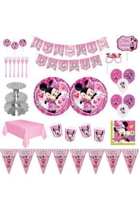 MINNIE Mouse Lüks Doğum Günü Parti Malzemeleri Seti Süs 8 Kişilik 0