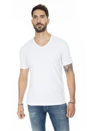 Buratti Erkek BEYAZ V Yaka Slim Fit Pamuklu Basic T Shirt 5722512V 2