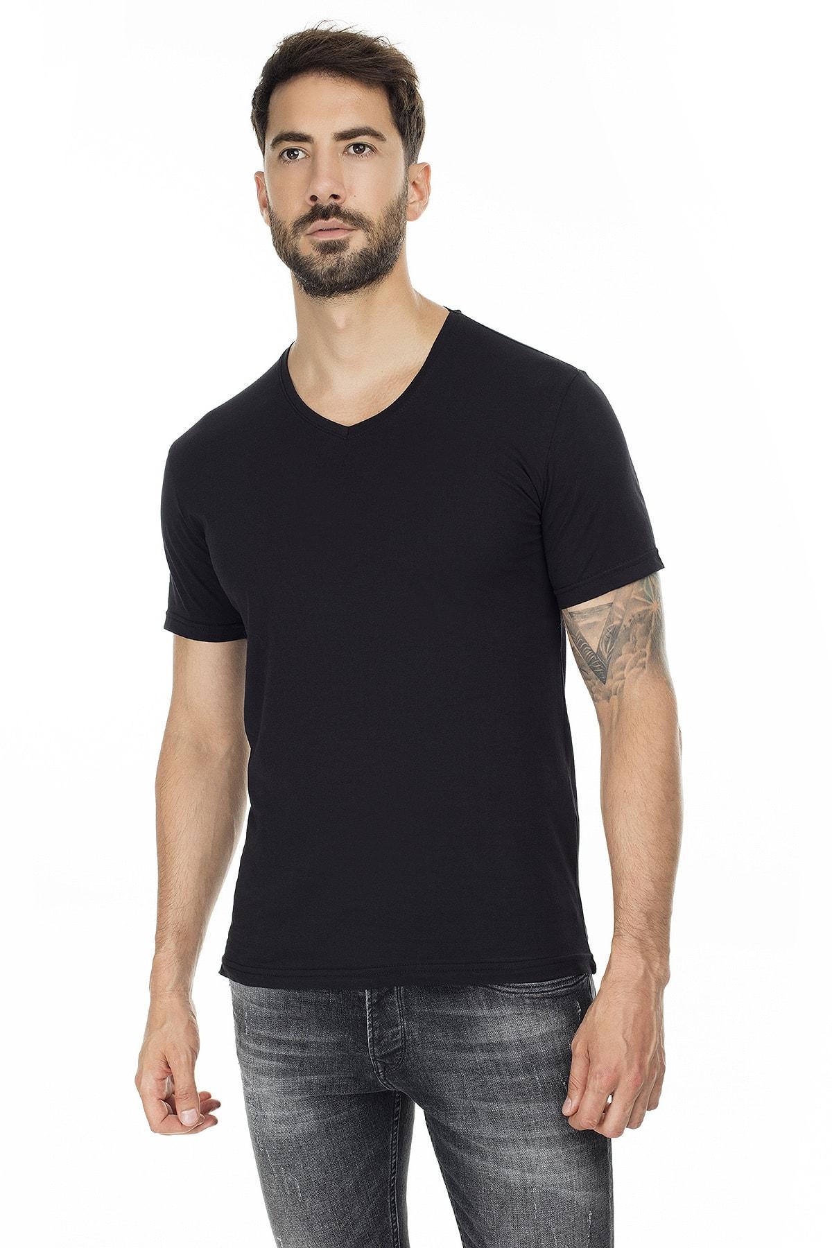 Buratti Erkek SİYAH-SİYAH 2'li Paket V Yaka Slim Fit Pamuklu Basic T Shirt 5722512V2 1
