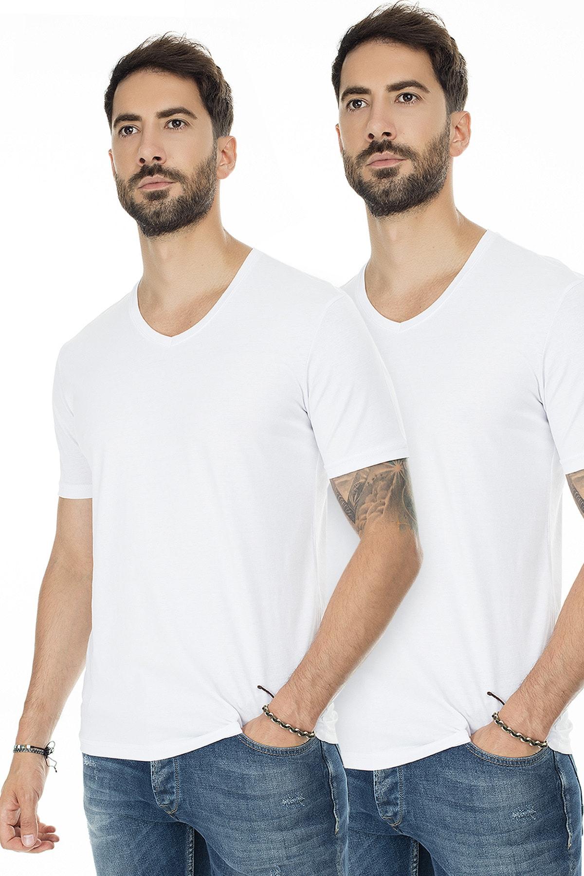 Buratti Erkek BEYAZ-BEYAZ 2'li Paket V Yaka Slim Fit Pamuklu Basic T Shirt 5722512V2 0