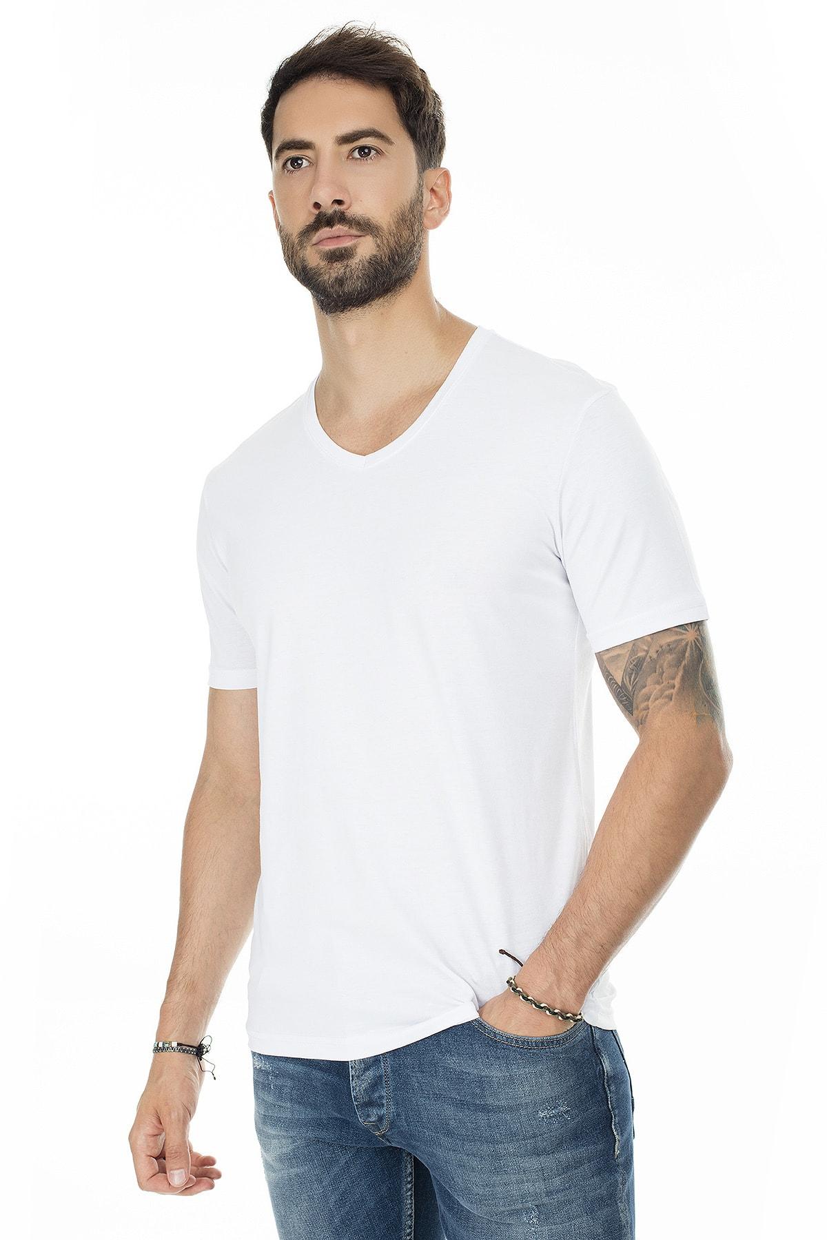 Buratti Erkek BEYAZ-BEYAZ 2'li Paket V Yaka Slim Fit Pamuklu Basic T Shirt 5722512V2 3