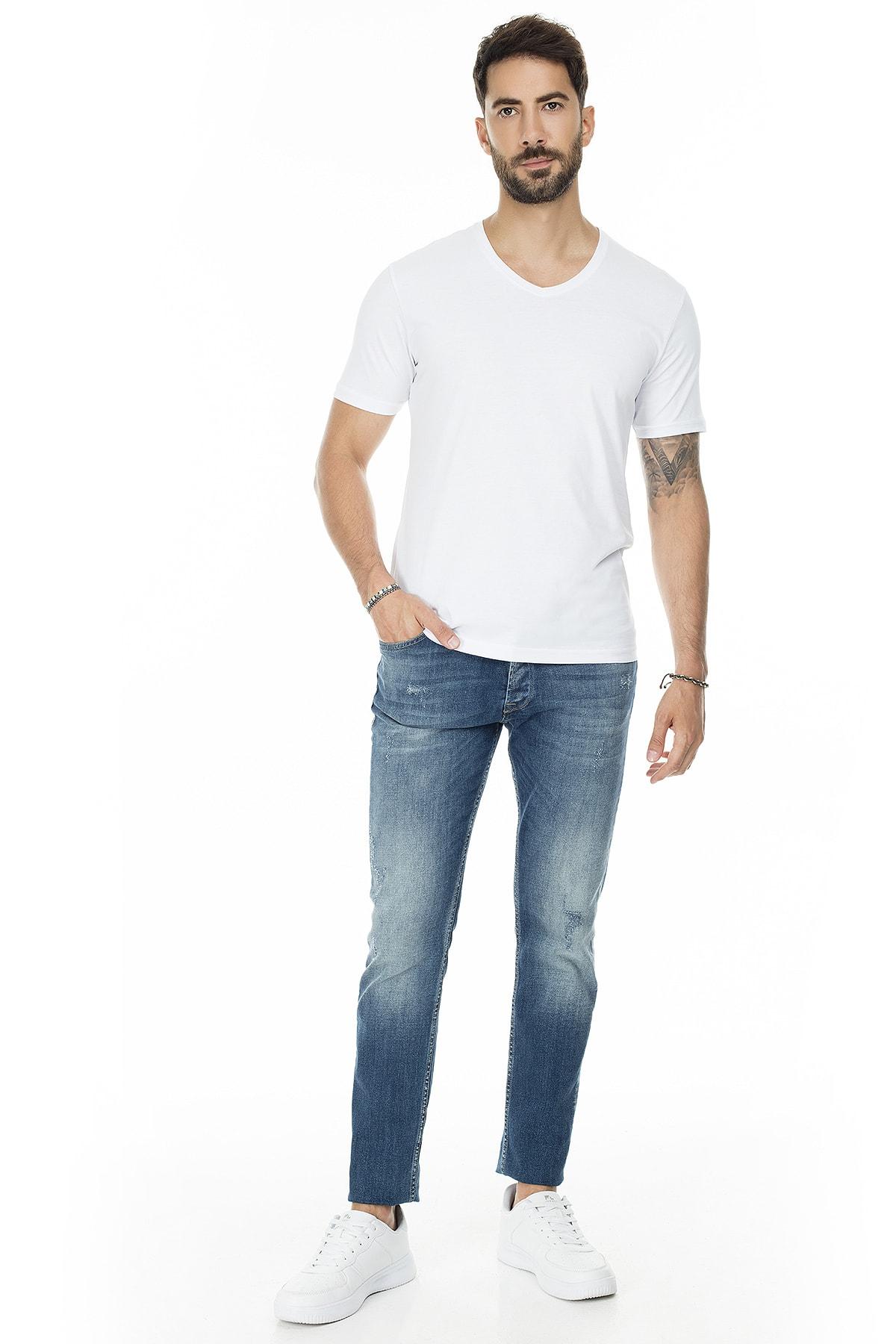 Buratti Erkek BEYAZ-BEYAZ 2'li Paket V Yaka Slim Fit Pamuklu Basic T Shirt 5722512V2 4