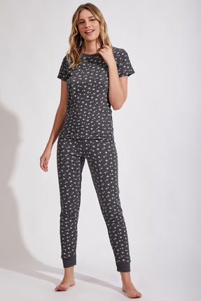 Happiness İst. Kadın Antrasit Yıldız Desenli Örme Alt Üst Pijama Takım Cn00086 1