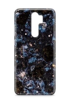 Melefoni Xiaomi Redmi Note 8 Pro Kılıf Marble Mermer Serisi Siyah Mavi 3