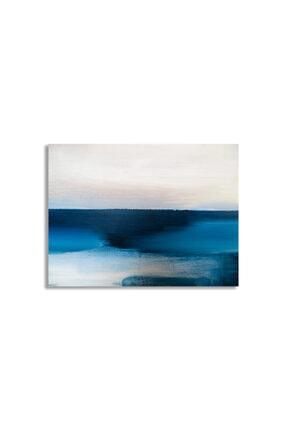 Hermes Kanvas Mavi Beyaz Soyut Sanat Kanvas Tablo 0